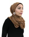 Dark Tan Hijab in Cotton Crinkle Fabric