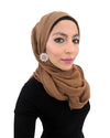 Cotton Crinkle Hijab in Dark Tan