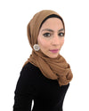 Model in Cotton Crinkle Dark Tan Hijab