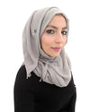 Ice Grey Hijab in Cotton Crinkle Fabric
