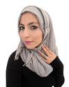 Model in Cotton Crinkle Ice Grey Hijab