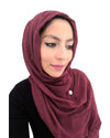 Model in Cotton Crinkle Magenta Hijab