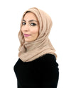 Model in Cotton Crinkle Nude Hijab