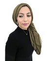 Olive Coloured Cotton Crinkle Hijab