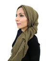 Model in Cotton Crinkle Olive Hijab