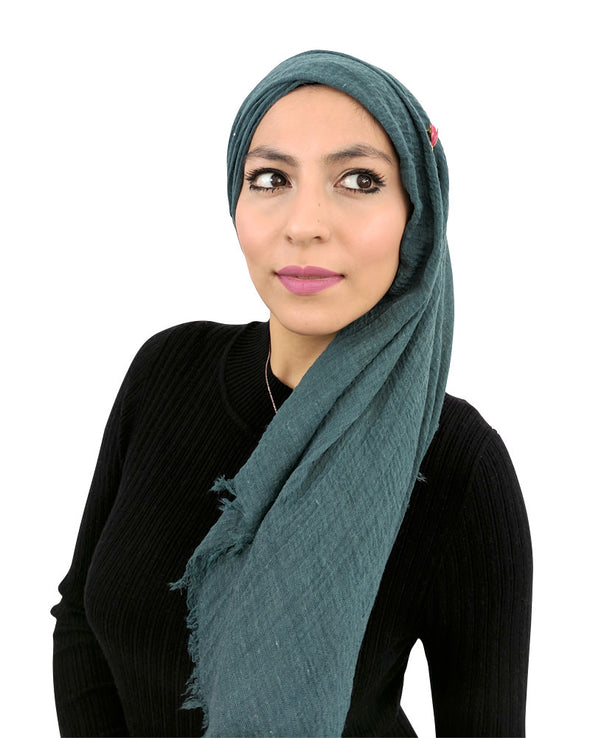 Cotton Crinkle Teal Hijab