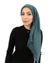 Cotton Crinkle Hijab in Teal