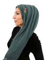 Model Wearing Cotton Crinkle Teal Hijab