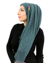 Teal Hijab in Cotton Crinkle Fabric