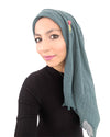 Model Posing in Cotton Crinkle Teal Hijab