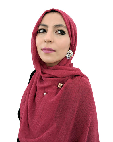 Cotton Crinkle Wine Red Hijab