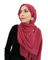 Model in Cotton Crinkle Wine Red Hijab