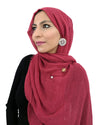 Model Posing in Cotton Crinkle Wine Red Hijab
