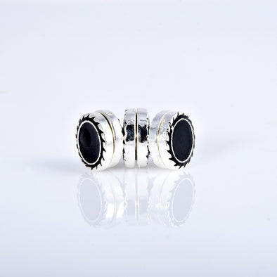 classic magnet black brooch / pin with silver based metal for hijab