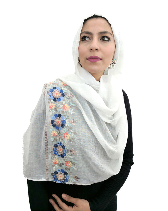 Embroidered Cotton Hijab White