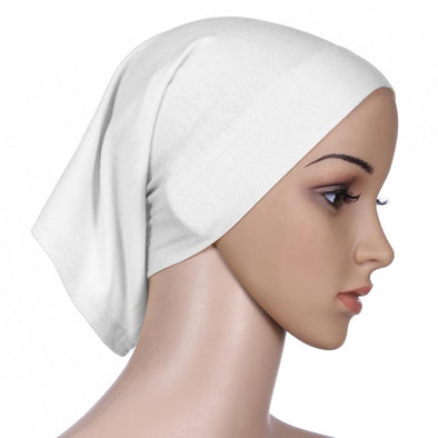 Tie Back White Bonnet Cap