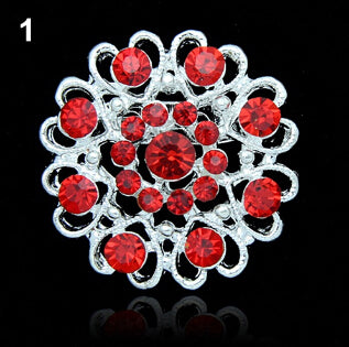 Red Hollow Out Flower Brooch