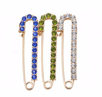 Large Safety Pin Crystal Brooch