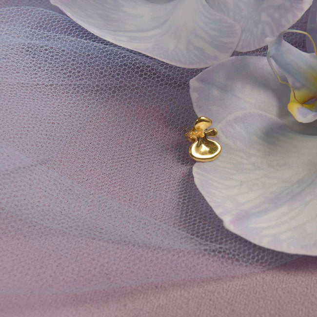 Dancing Orchid Studs - Solid Gold