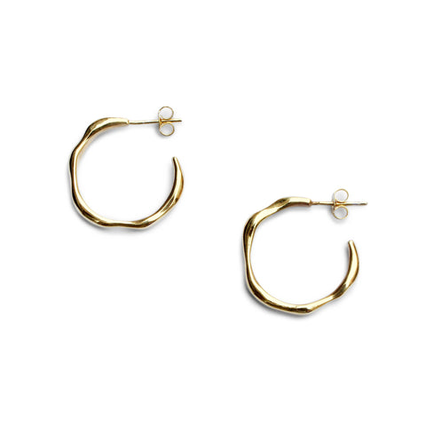 Everyday Large Baroque Hoops - Sterling Silver