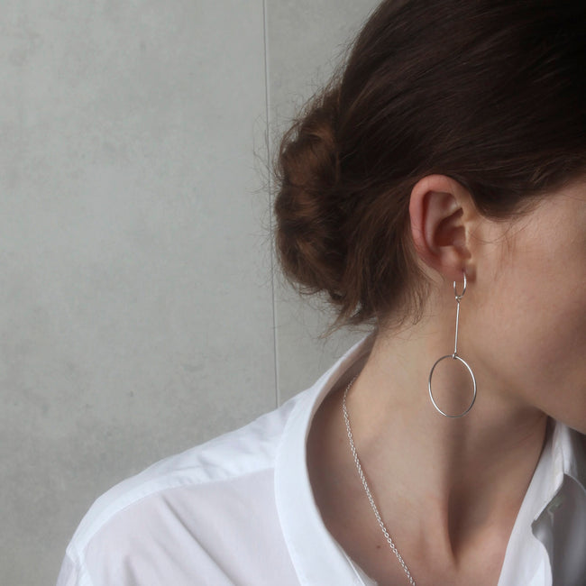 Hold Tight Sleeper Hoop Earrings - Sterling Silver