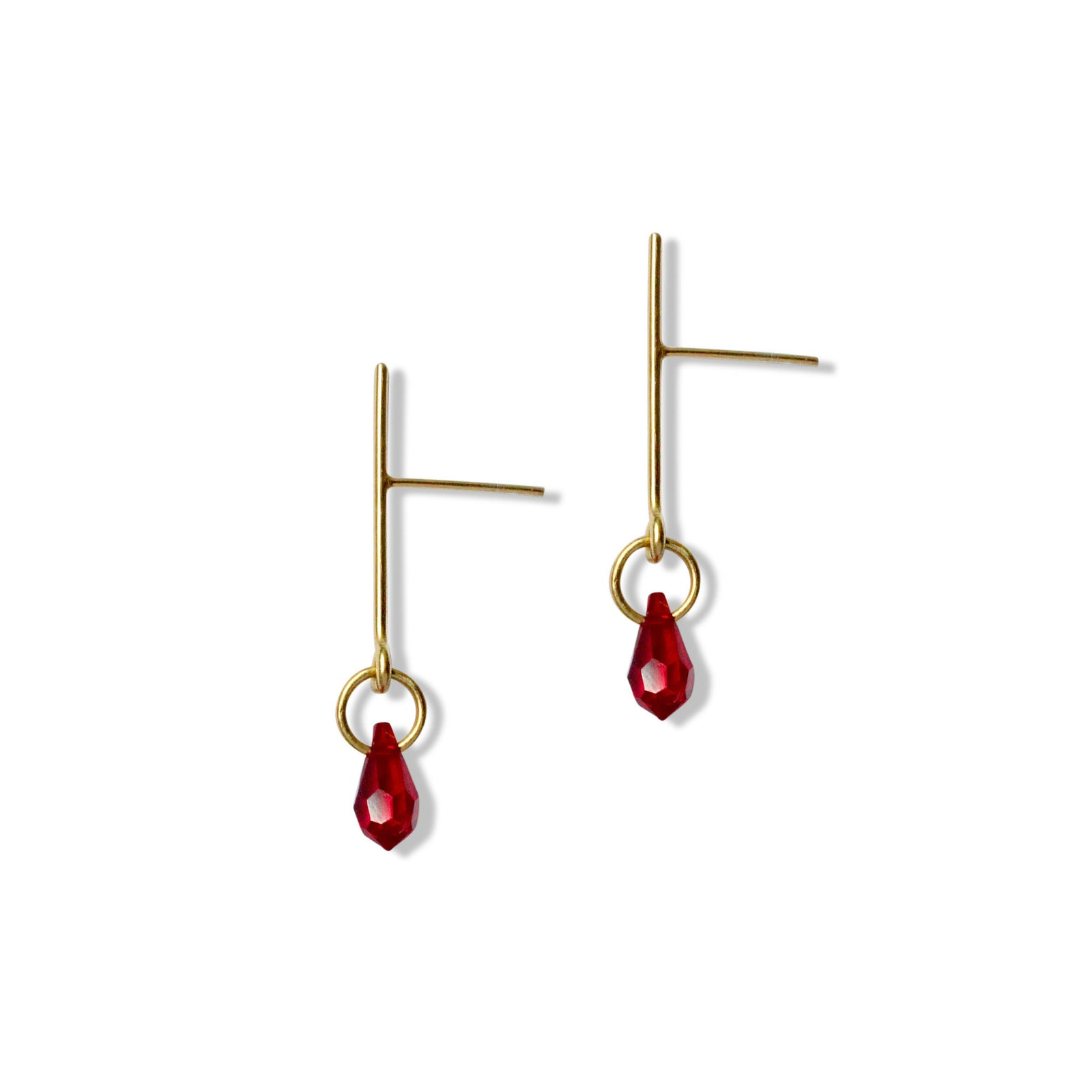 Crimson Ink Drop Earrings - Gold Vermeil