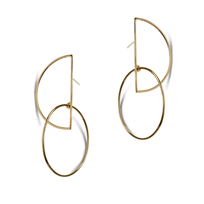 Large Half Moon Hoops - Gold Vermeil