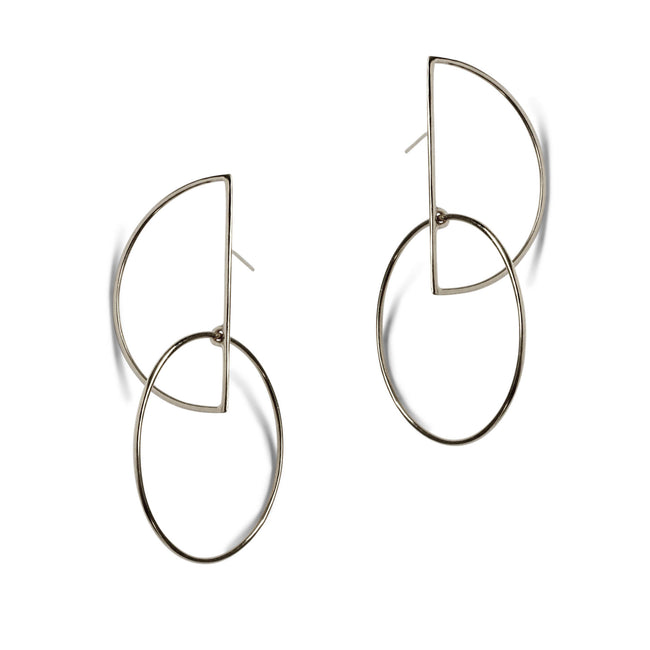 Large Half Moon Hoop Earrings - Sterling Silver