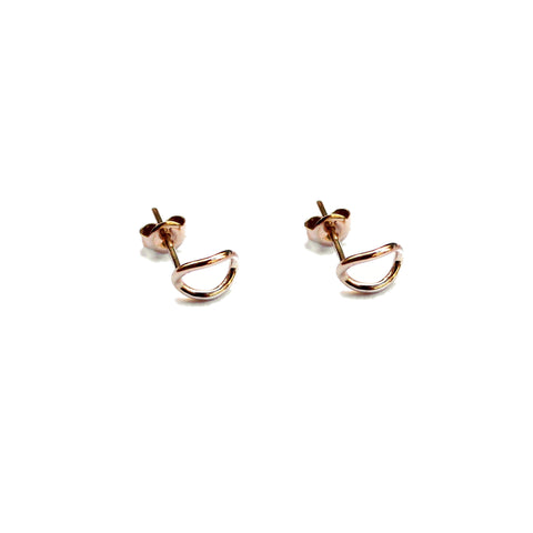 Mini Cube Hoop Stud Earrings - Sterling Silver