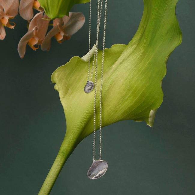 Moth Orchid Petal Pendant - Sterling Silver