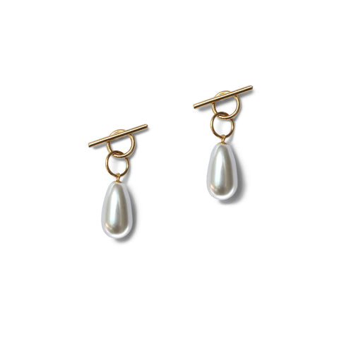 Pearl Ink Drop Earrings - Sterling Silver