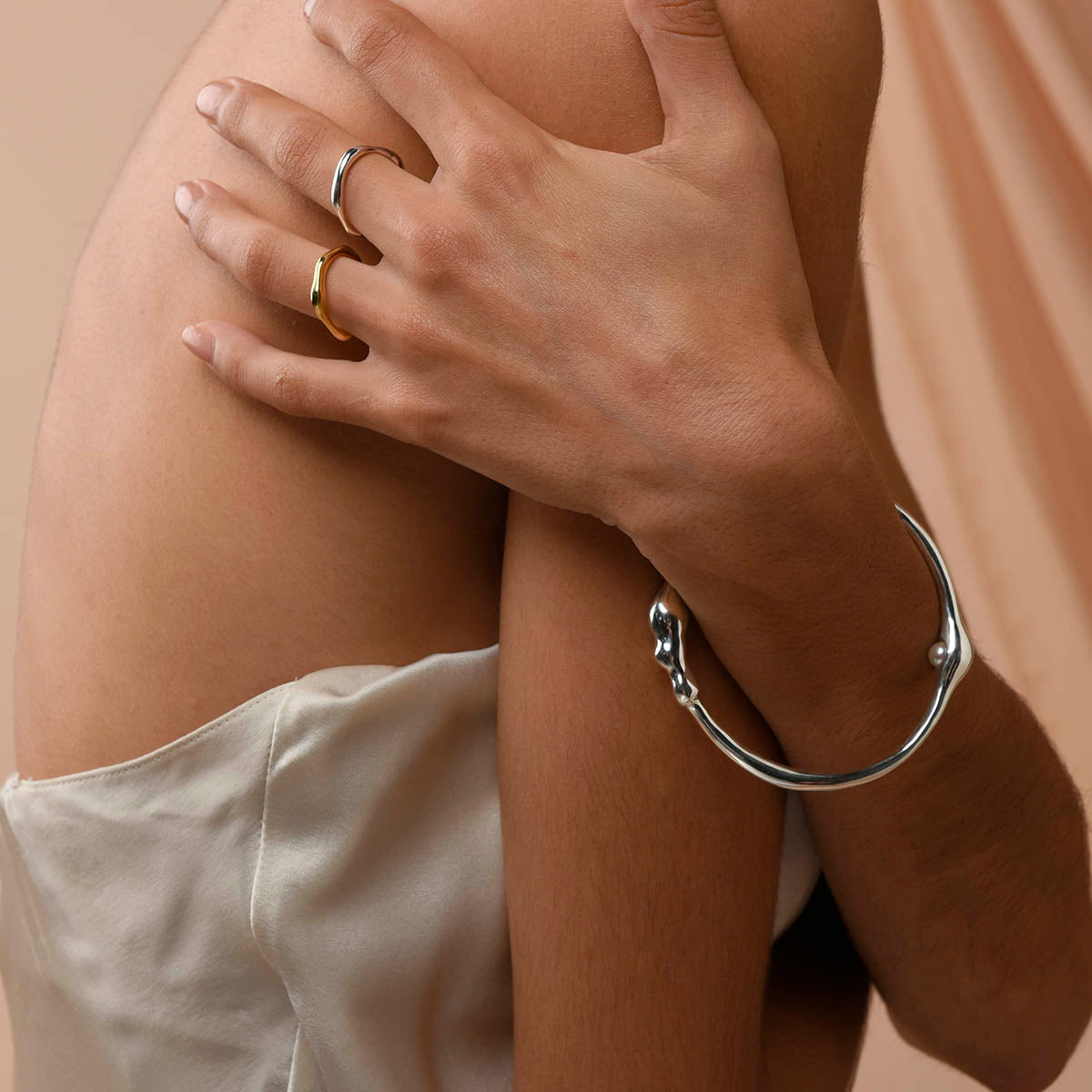 Secret Pearl Bangle - Sterling Silver