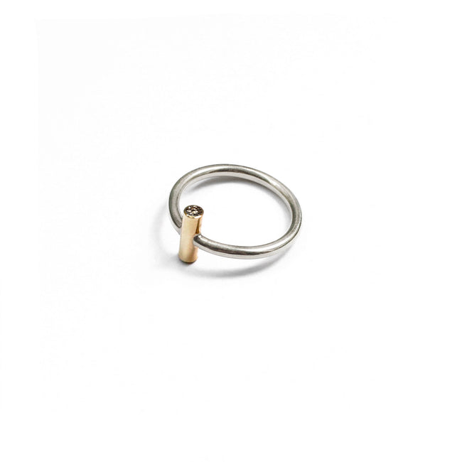 Secret Two Stones Ring - Sterling Silver, Solid Gold and Diamonds