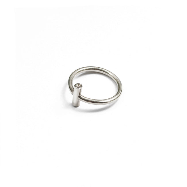 Secret Two Stones Ring - Sterling Silver and Diamonds