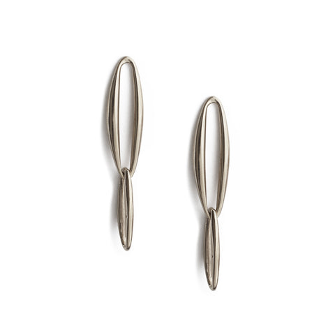 Two Way Tangle Earrings with White Pearls - Gold Vermeil