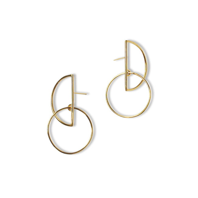 Small Half Moon Hoops - Gold Vermeil