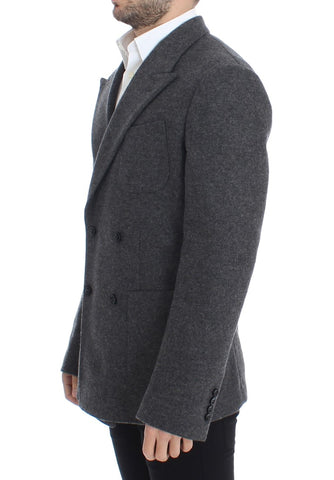 Gray wool double breasted blazer