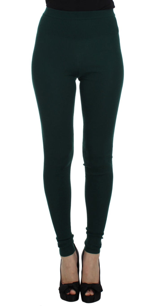 Green Cashmere Stretch Tights Pants