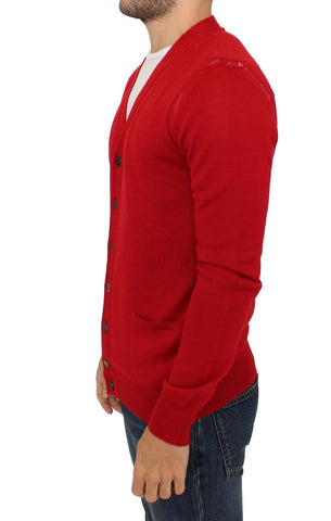 Red Wool Cardigan Sweater