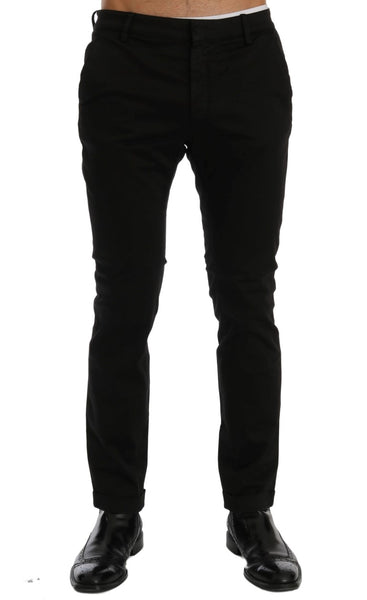 Black Slim Fit Cotton Stretch Pants