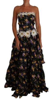 Black Sartoria Ball Floral Rose Crystal Dress