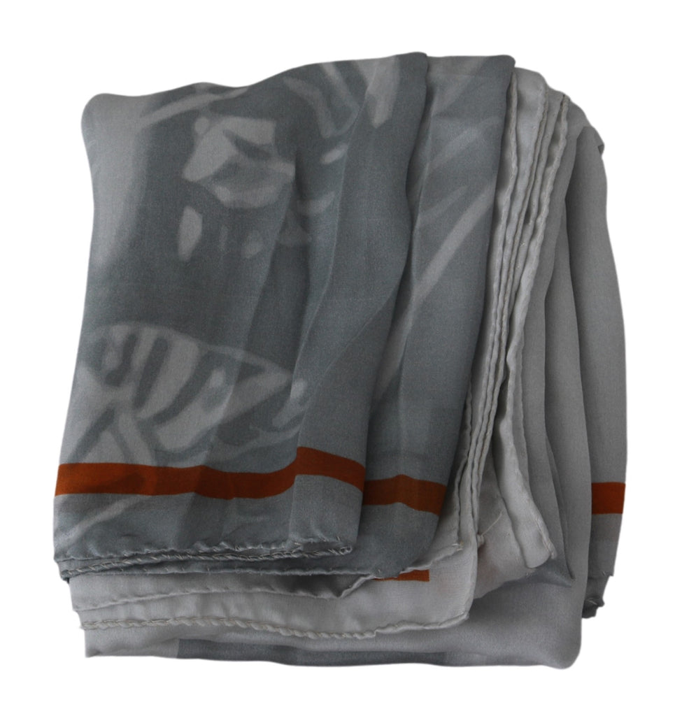 Gray Red Silk Shawl Foulard Wrap Scarf