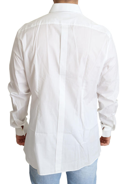White Cotton Stretch GOLD Formal Shirt