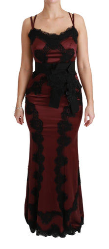 Maroon Black Lace Sweetheart Bodycon Dress