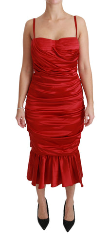 Red Silk Stretch Mermaid Bodycon Dress
