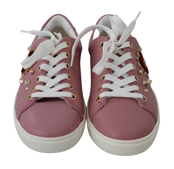 Pink Leather Gold Red Heart Womens Sneakers Sneakers