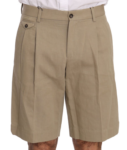 Beige Cotton Linen Royal Bee Shorts  Chinos
