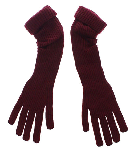 Bordeaux Knitted Wool Elbow Logo Gloves