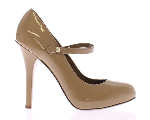 Beige Patent Leather Mary Janes Platform Shoes