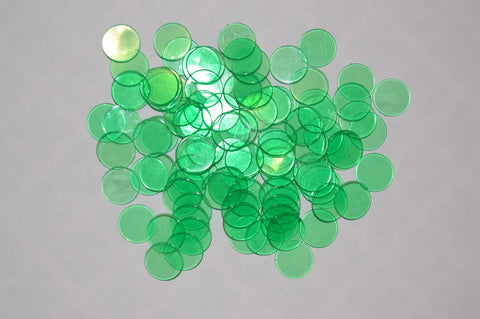 100 Green Bingo Chips in Cream Organza Bags - FREE Shipping - Australia only